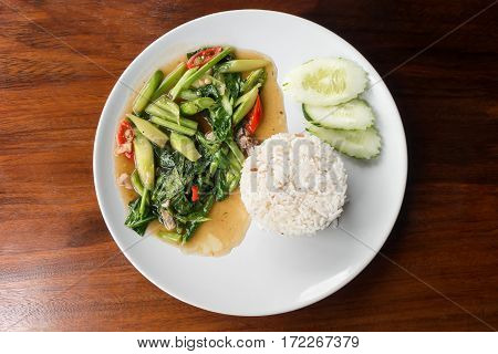Thai food Stir-fried kaled with sun-dried salted fish