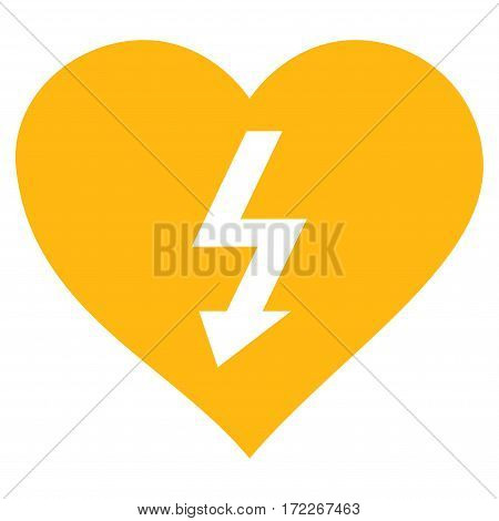 Power Love Heart flat icon. Vector yellow symbol. Pictograph is isolated on a white background. Trendy flat style illustration for web site design logo ads apps user interface.