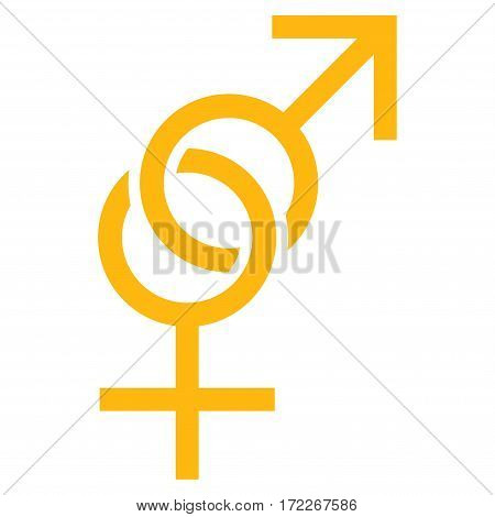 Sex Symbol flat icon. Vector yellow symbol. Pictograph is isolated on a white background. Trendy flat style illustration for web site design logo ads apps user interface.
