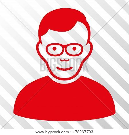 Red Pensioner interface pictogram. Vector pictogram style is a flat symbol on diagonal hatch transparent background.