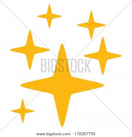 Sparkle Stars flat icon. Vector yellow symbol. Pictogram is isolated on a white background. Trendy flat style illustration for web site design logo ads apps user interface.