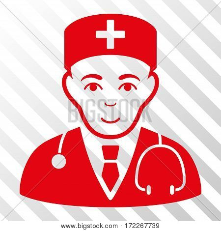 Red Physician interface toolbar pictogram. Vector pictograph style is a flat symbol on diagonal hatch transparent background.