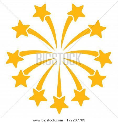 Spherical Fireworks flat icon. Vector yellow symbol. Pictograph is isolated on a white background. Trendy flat style illustration for web site design logo ads apps user interface.