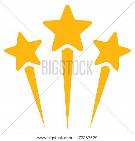 Star Salute flat icon. Vector yellow symbol. Pictogram is isolated on a white background. Trendy flat style illustration for web site design logo ads apps user interface.