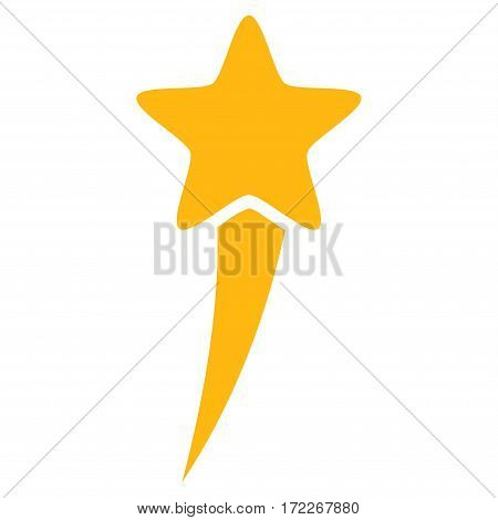 Starting Star flat icon. Vector yellow symbol. Pictograph is isolated on a white background. Trendy flat style illustration for web site design logo ads apps user interface.