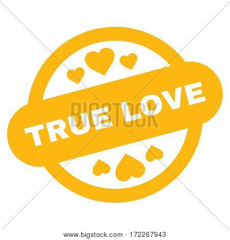 True Love Stamp Seal flat icon. Vector yellow symbol. Pictograph is isolated on a white background. Trendy flat style illustration for web site design logo ads apps user interface.