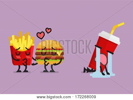 Fast food fall in love kissing with heartbroken soft drink character. Funny character