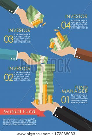 Mutual fund infographic concept. Business vector concept