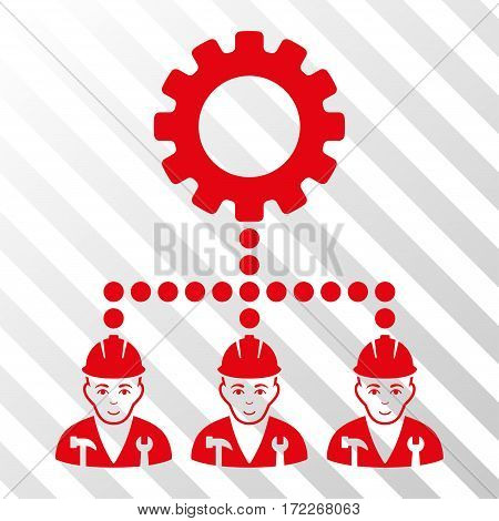 Red Service Staff interface pictogram. Vector pictogram style is a flat symbol on diagonally hatched transparent background.