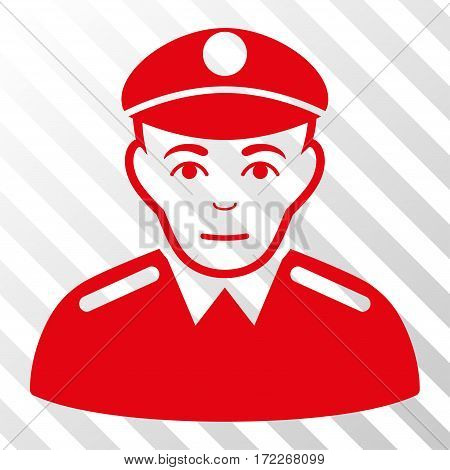 Red Soldier toolbar pictogram. Vector pictograph style is a flat symbol on diagonal hatch transparent background.