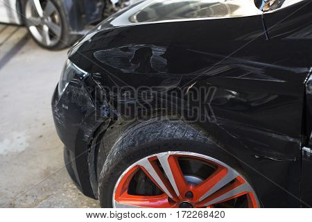 Auto body repair series : Black car scratch