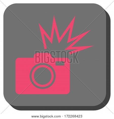 Camera Flash rounded button. Vector pictogram style is a flat symbol in a rounded square button pink and gray colors.