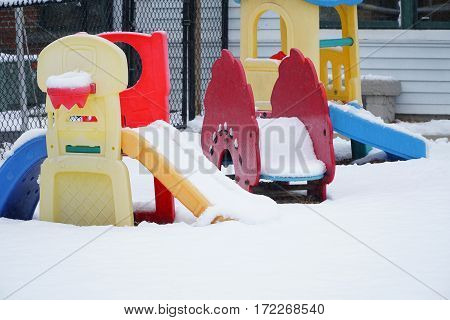 close up on winter playground in the park