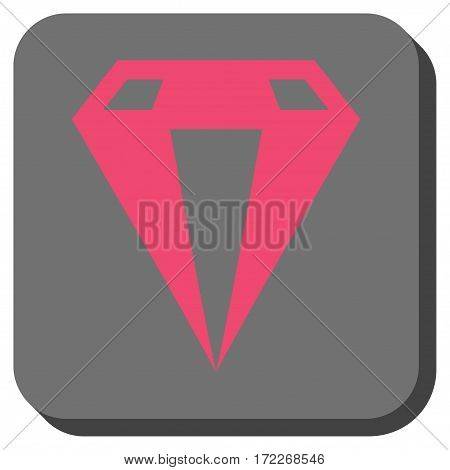 Diamond rounded icon. Vector pictograph style is a flat symbol inside a rounded square button pink and gray colors.