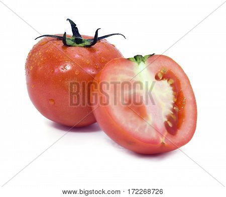 Tomato fruit (Other names are Solanum lycopersicum Solanaceae tomatl) with half cross section isolated on white background