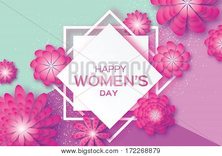 Magenta Paper Cut Flower. 8 March. Women's Day Greeting card. Origami Floral bouquet. Square Rhombus frame. Space for text on purple background. Happy Mother's Day. Vector Spring illustration