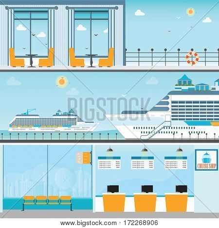 Info of Cruise ship terminal at sea port with moored transatlantic liner ticket counterinterior of cruise ship and cruise ship deck travel vector illustration.