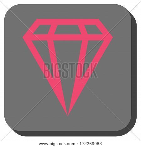 Gem interface button. Vector pictograph style is a flat symbol on a rounded square button pink and gray colors.