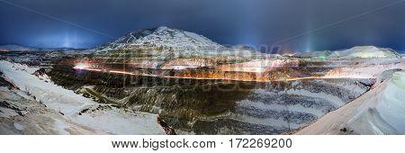 Big career. Gold mining. Panoramic view at winter time.