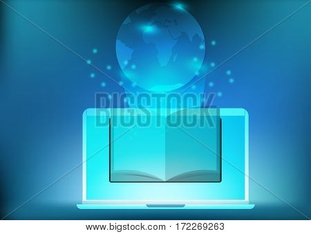 Concept Laptop app E-book to learn more quickly in today's world in social network online