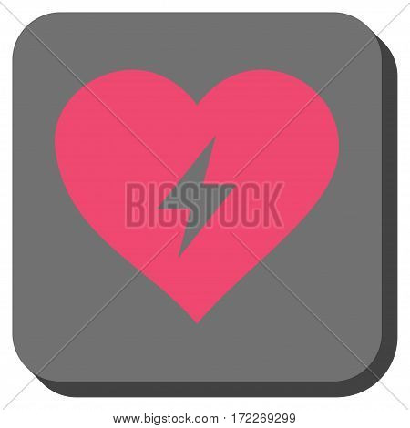 Heart Power rounded icon. Vector pictogram style is a flat symbol centered in a rounded square button pink and gray colors.