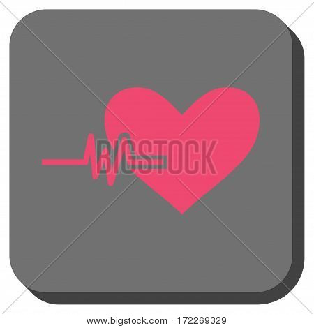 Heart Pulse square button. Vector pictograph style is a flat symbol on a rounded square button pink and gray colors.