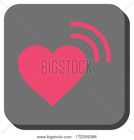 Heart Radio Signal rounded button. Vector pictograph style is a flat symbol centered in a rounded square button pink and gray colors.