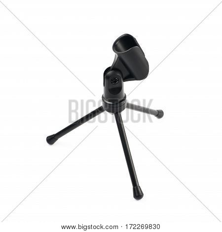 Black microphone short rack stand isolated over the white background