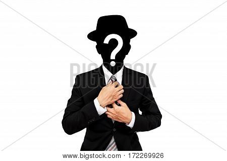 Businessman with question mark on head, isolated on white background, secret agent