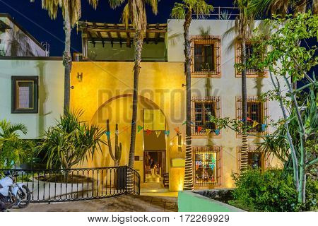 Fragment of colourful restaurant or hotel building in San Jose del Cabo, Mexico.