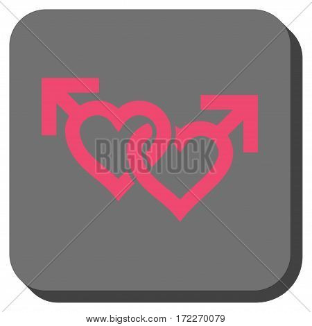 Linked Gay Hearts rounded icon. Vector pictogram style is a flat symbol centered in a rounded square button pink and gray colors.