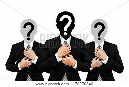 Three businessman with question mark on head, isolated on white background