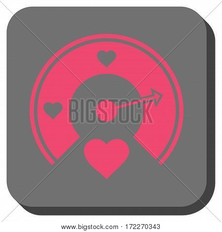 Love Gauge square button. Vector pictograph style is a flat symbol centered in a rounded square button pink and gray colors.
