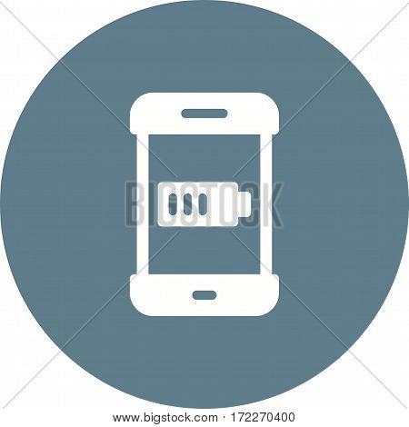 Smartphone, battery, indicator icon vector image. Can also be used for smartphone. Suitable for mobile apps, web apps and print media.