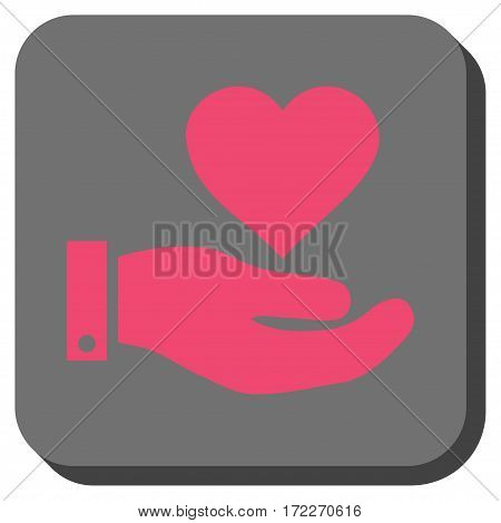 Love Heart Offer Hand toolbar icon. Vector pictograph style is a flat symbol in a rounded square button pink and gray colors.