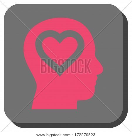 Love In Head square icon. Vector pictogram style is a flat symbol inside a rounded square button pink and gray colors.