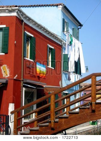 Venice Colourful Houses On Burano Island, Italy