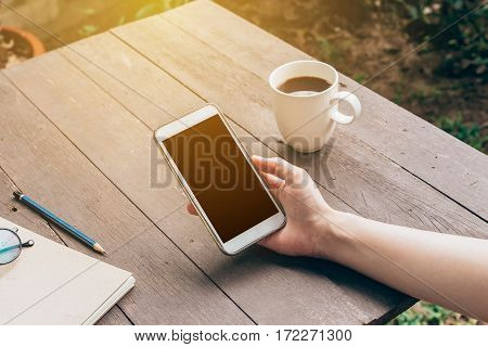Woman Hand Holding Phone With Blank Copy Space Screen For Your Advertising. Hand Woman Using Phone I