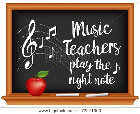 Music Teachers play the right note, treble clef on staff, wood frame blackboard, chalk and apple. March is Music Month.
