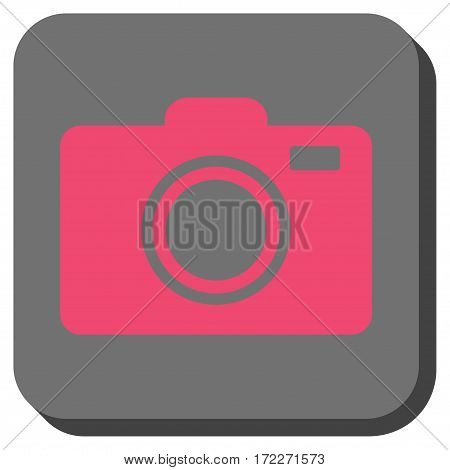 Photo Camera square button. Vector pictogram style is a flat symbol on a rounded square button pink and gray colors.