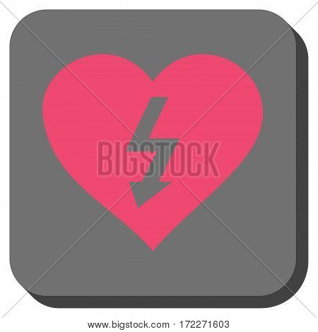 Power Love Heart square icon. Vector pictograph style is a flat symbol inside a rounded square button pink and gray colors.