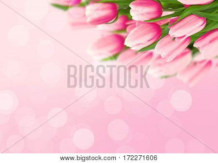 Bouquet Of Tulips On Pink Background With Space For Message. Valentine's Day And Mother's Day Backgr