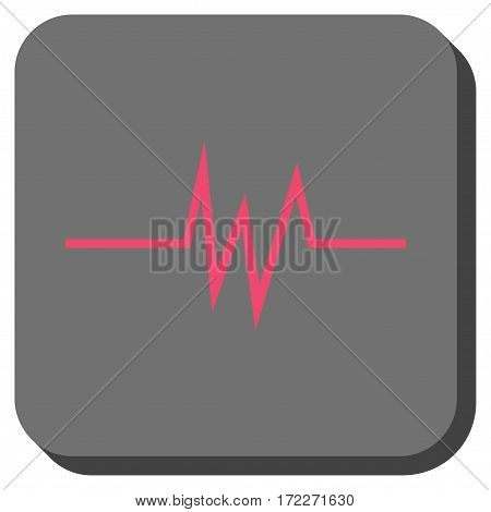 Pulse Signal rounded button. Vector pictograph style is a flat symbol centered in a rounded square button pink and gray colors.