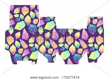 Template pattern box with crystals. Vector design Die-stamping. Di pack boho style. Stencil printing, cutting
