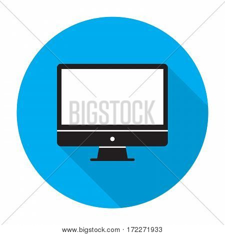 Computer monitor icon with shadow Vector illustration