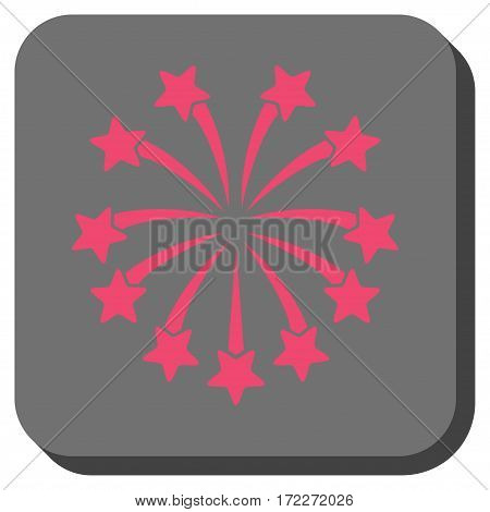 Spherical Fireworks toolbar icon. Vector pictograph style is a flat symbol on a rounded square button pink and gray colors.