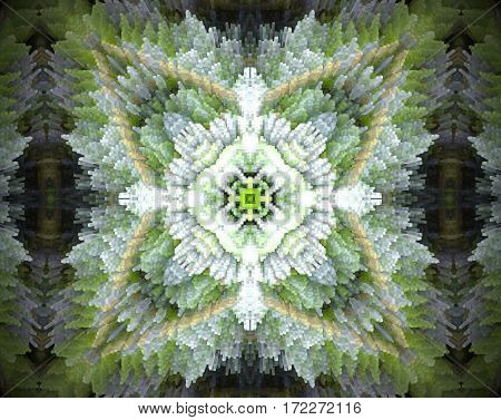 4 Sided Star Shape Extruded Mandala