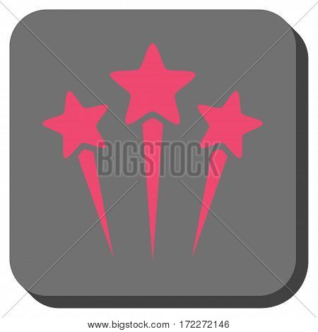 Star Salute interface toolbar icon. Vector pictogram style is a flat symbol inside a rounded square button pink and gray colors.