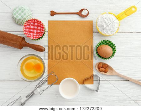 Baking Background With Blank Paper