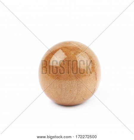 Single wooden sphere isolated over the white background